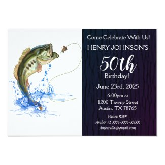 Bass Fishing Themed 50th Birthday Invitation