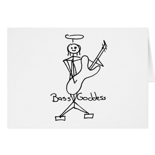 Bass Goddess Stick Figure Female Bass Player Greeting Card