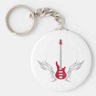 bass guitar basic round button keychain