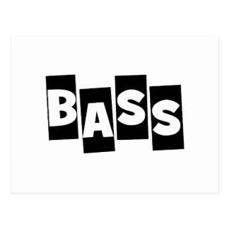 Bass Guitar black knock out text design Postcard