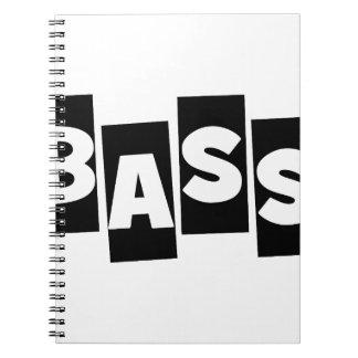 Bass Guitar black knock out text design Spiral Notebook
