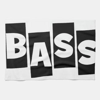 Bass Guitar black knock out text design Towel