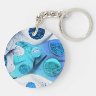 bass guitar blue green invert planets painting Double-Sided round acrylic keychain