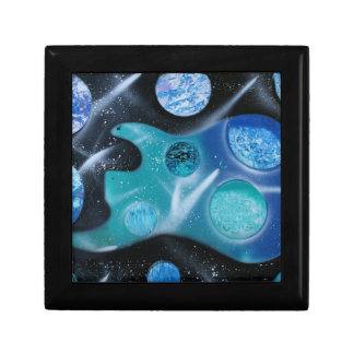 bass guitar blue green planets painting trinket boxes