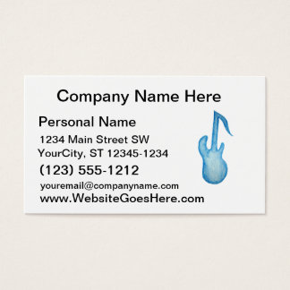 Bass guitar blue note design in crayon business card