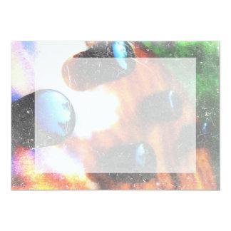 Bass guitar control knobs grunge look tiger eye 5x7 paper invitation card