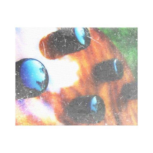 Bass guitar control knobs grunge look tiger eye canvas prints