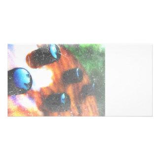Bass guitar control knobs grunge look tiger eye photo greeting card