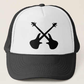 bass guitar crossed trucker hat