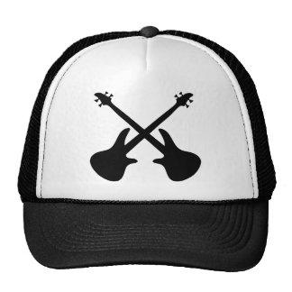 bass guitar crossed trucker hat