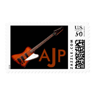 Bass Guitar - customize your own monogram Postage
