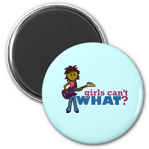 Bass Guitar Girl 2 Inch Round Magnet