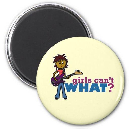Bass Guitar Girl 2 Inch Round Magnet