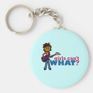 Bass Guitar Girl Basic Round Button Keychain