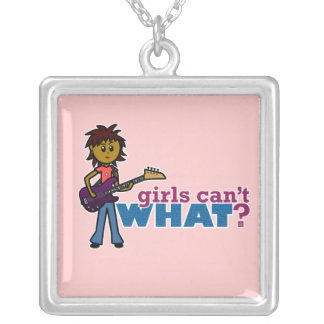 Bass Guitar Girl Square Pendant Necklace