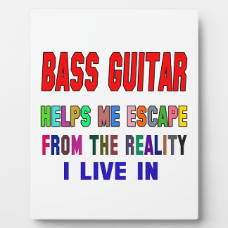 Bass Guitar Helps Me Photo Plaques