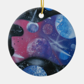 Bass guitar left spacepainting blue pink purple Double-Sided ceramic round christmas ornament
