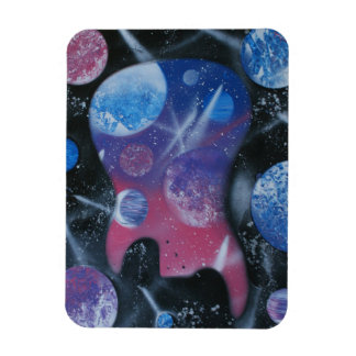Bass guitar left spacepainting blue pink purple rectangular magnet