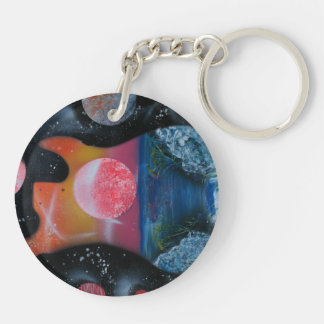 bass guitar left tropical theme spacepainting Double-Sided round acrylic keychain