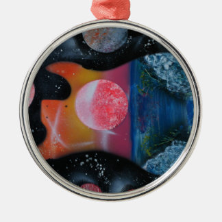 bass guitar left tropical theme spacepainting round metal christmas ornament