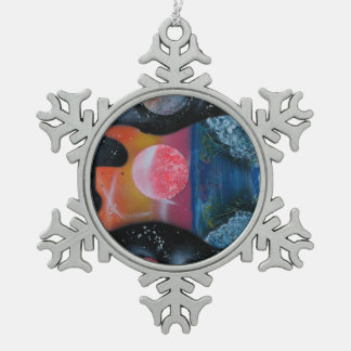 bass guitar left tropical theme spacepainting snowflake pewter christmas ornament