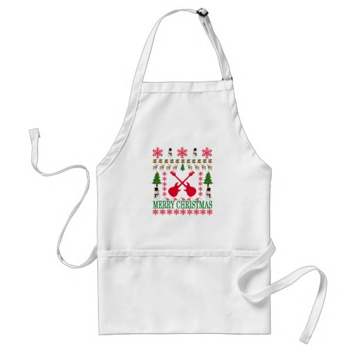 Bass Guitar Merry Christmas Adult Apron