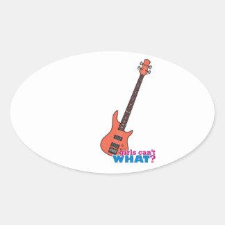 Bass Guitar Oval Sticker