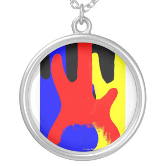 Bass Guitar Painting Abstract Bright Colours Round Pendant Necklace