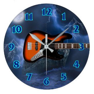 Bass Guitar Player Large Clock