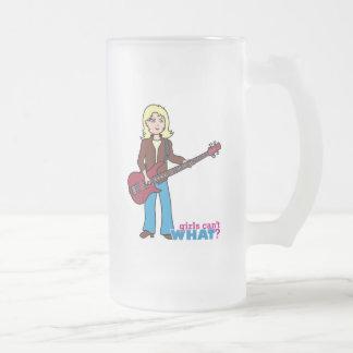 Bass Guitar Player - Light/Blonde Frosted Glass Beer Mug