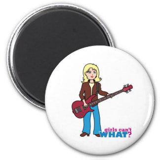 Bass Guitar Player - Light/Blonde Refrigerator Magnets