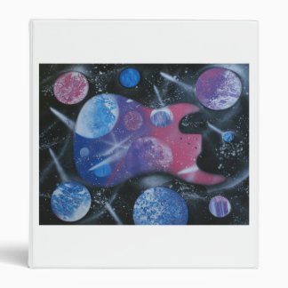 bass guitar purple pink blue planets right 3 ring binder