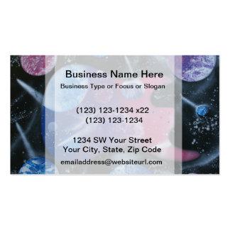 bass guitar purple pink blue planets right business card