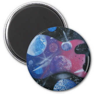 bass guitar purple pink blue planets right magnet