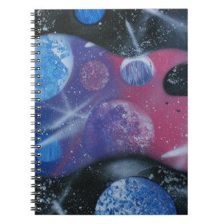 bass guitar purple pink blue planets right note book