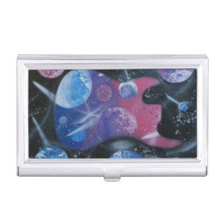 bass guitar purple pink blue planets right business card case