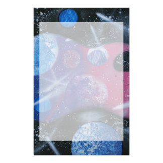 bass guitar purple pink blue planets right stationery