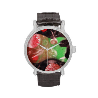 bass guitar red green planets musical spacepaintin wristwatches
