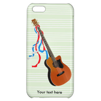 Bass Guitar Red White Blue Streamers Case For iPhone 5C