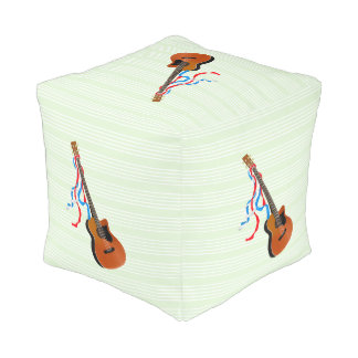 Bass Guitar Red White Blue Streamers Cube Pouf