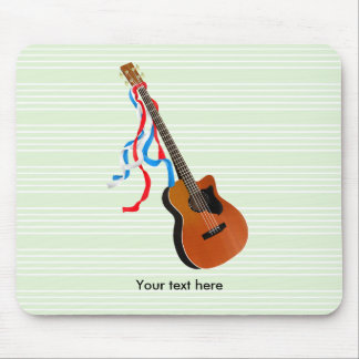 Bass Guitar Red White Blue Streamers Mouse Pad