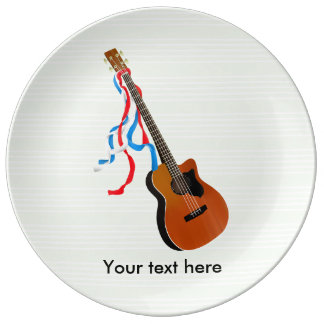 Bass Guitar Red White Blue Streamers Porcelain Plate