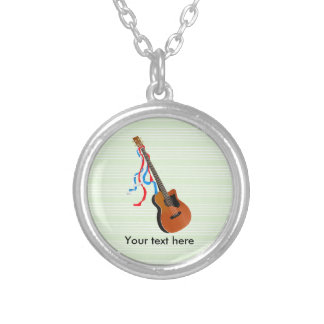 Bass Guitar Red White Blue Streamers Round Pendant Necklace