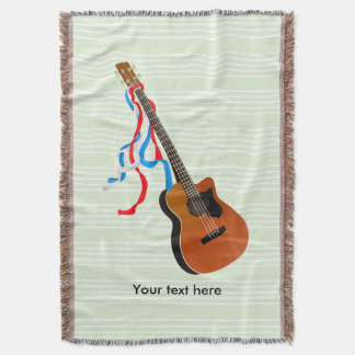 Bass Guitar Red White Blue Streamers Throw Blanket