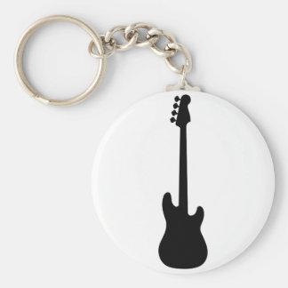 Bass Guitar Silhouette, musical instrument Basic Round Button Keychain
