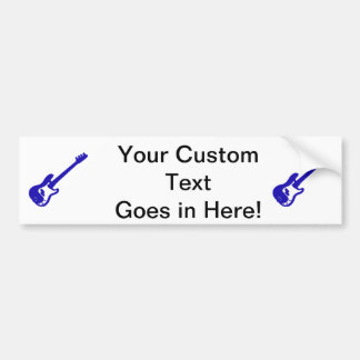 bass guitar slanted blue graphic bumper sticker