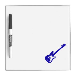 bass guitar slanted blue graphic dry erase board