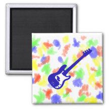 bass guitar slanted blue graphic fridge magnets