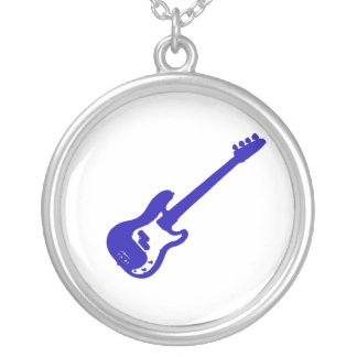 bass guitar slanted blue graphic silver plated necklace