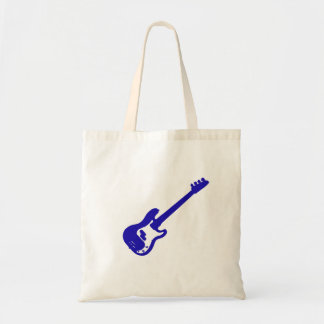 bass guitar slanted blue graphic tote bag